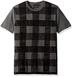 French Connection Mens Texas Check T-Shirt, Charcoal Melange/Black, M