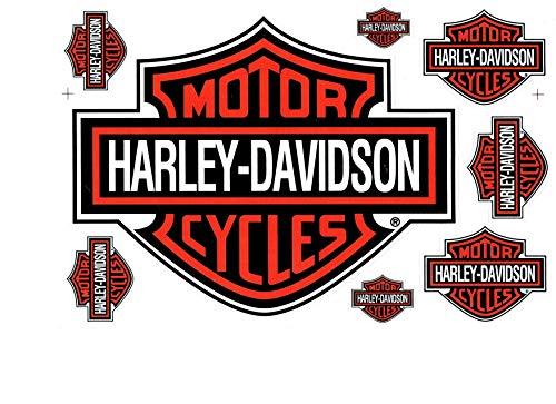 Aufkleber Set Harley Davidson orange (ca. 26x17cm) (Harley Davidson Aufkleber Orange)