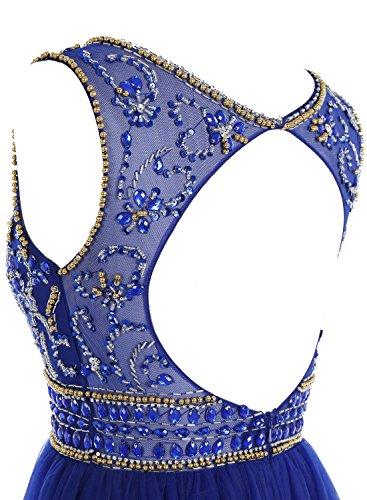 Bbonlinedress Robe de cérémonie Robe de bal forme empire emperlée en tulle longueur ras du sol Champagne