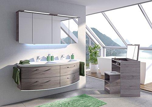 PELIPAL Cassca 3 tlg. Badmöbel Set/Waschtisch / Unterschrank/Spiegelschrank inkl. LED Beleuchtun