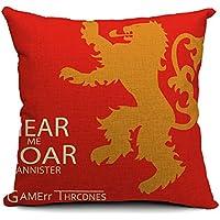 Poens Dream Funda de Coj'n, Hear Me Roar Cotton Linen Decorative Throw Pillow Case Cushion Cover, 17.7 x 17.7inches