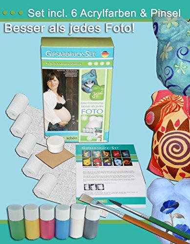 Tausendschön COLOUR - Gipsabdruck -Set Babybauch, Bauchmaske Schwangerschaft
