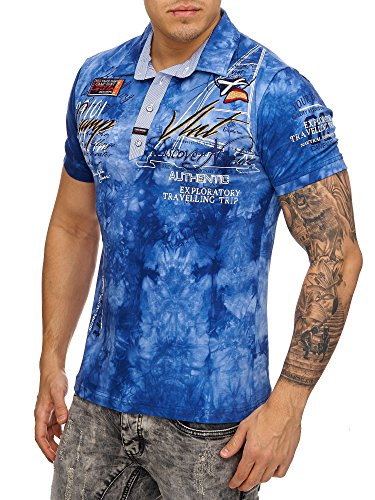 Herren Washed Look Polo Camp Kurzarm Shirt Clubwear T-Shirt Shortsleeve