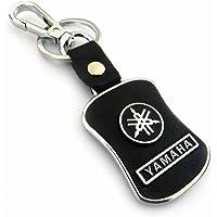Asier Key Chain for Yamaha Car Bike Black Leather Keychain Key Ring with Hook (Yamaha)