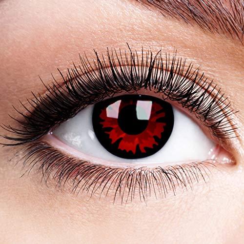 Farbige Kontaktlinsen mit Stärke Volturi Rot Schwarz Rand Motiv Linsen Halloween Karneval Fasching Cosplay Schwarze Augen Vampir Black Red Devil Zombie - 1,5 dpt