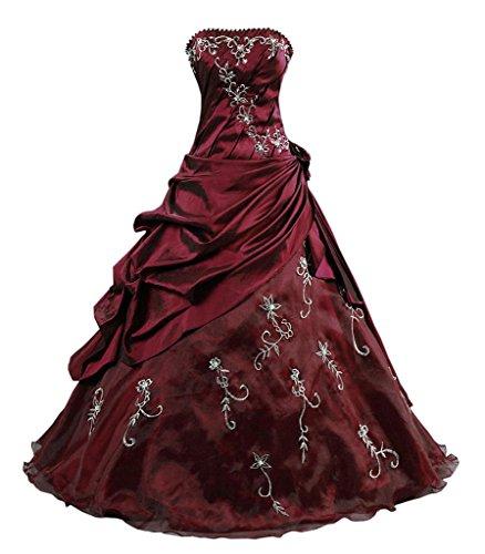 Kmformals Damen Ballkleid trägerlosen Prom Kleider Abendkleidung Größe 60 Burgund -