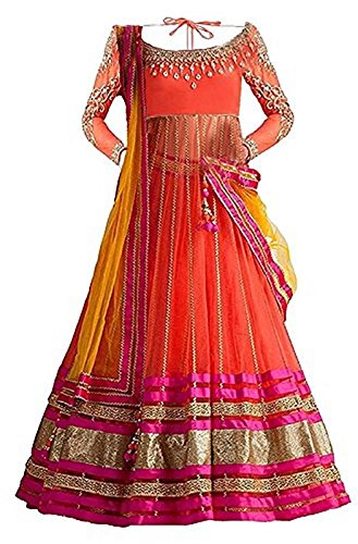 Market Magic World Girl's Orange Net Semi-Stitched Ethnic Lehenga Choli (Kidswear Gown_Free...