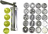 25 pc Aluminium Cookie Press Kit by Kurtzy - 20 Stainless Steel Discs & 4 Icing Tips for Use With Dough, Fondant or Batter - Supplied With Instructions - Great For Beginner and Professional Use.