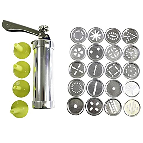 25 pc Aluminium Cookie Press Kit by Kurtzy - 20 Stainless Steel Discs & 4 Icing Tips for Use With Dough, Fondant or Batter - Supplied With Instructions - Great For Beginner and Professional