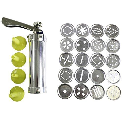 25-tlg. Aluminium Kekspresse Set von Kurtzy - 20 Edelstahl-Scheiben & 4 Glasurdüsen für die Verwendung mit Fondant oder Teig - mit kostenlosen Anleitungen - ideal für Anfänger und Profis