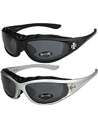 Choppers - Lot de 2 paires de lunettes de soleil avec rembourrage dans les  coloris noir 2370f2f5cf6