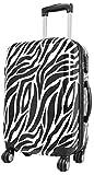Koffer L Zebra Weiss Schwarz 67x46x27cm Hartschale Reise Trolley + 20% Erweiterbar mit Dehnfalte Bowatex