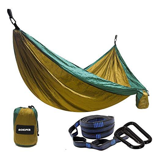 Hängematte Reise Camping Hängematte (275 x 140 cm) Atmungsaktiv, Schnelltrocknendes Fallschirm Nylon | 2 x Premium Karabiner, 2 x Nylon-S...