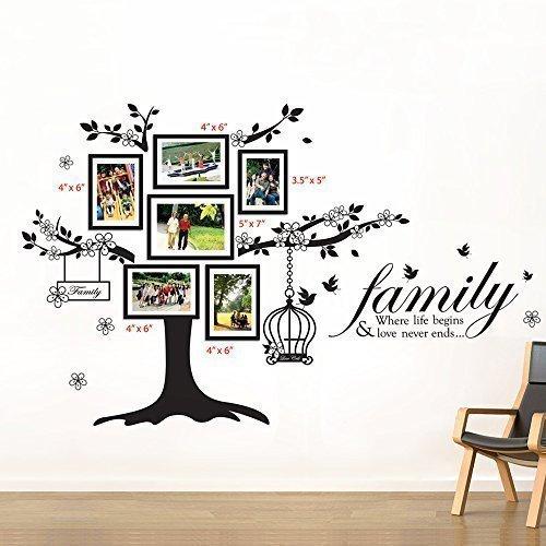 Walplus - Set di adesivi da parete: cornici portafoto con albero e...