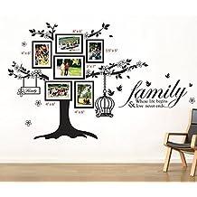 Walplus - Set di adesivi da parete: cornici portafoto con albero e gabbia per uccellini (mod. WS9021), scritta in lingua inglese (mod. WS3023)