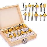 12-teiliges Set mit 0,6 cm Schaft Hartmetall Fräser-Bit-Set mit Holzkiste für Holzbearbeitungswerkzeug