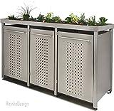 Reinkedesign Mülltonnenbox aus Edelstahl mit Pflanzenwanne 1x120L und 2x240L