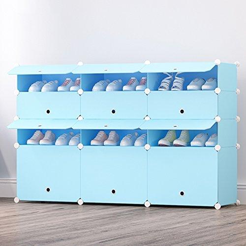 WENZHE Schuhregal Shoe Rack Schuhständer Schrank Schuhablagen Versammlung Lager Einfach Multifunktion Blau, 17 Modelle (Farbe : 3-4B) - 34b Farbe