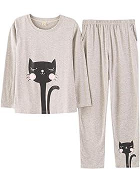 OKSakady Pigiama da donna a maniche lunghe in cotone e pantaloni lunghi PJ Set da notte in maglia