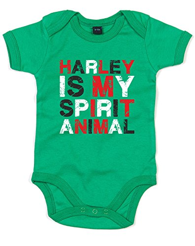(Harley Is My Spirit Animal, Gedruckt Baby Strampler - Kelly Green/Transfer 12-18 Months)