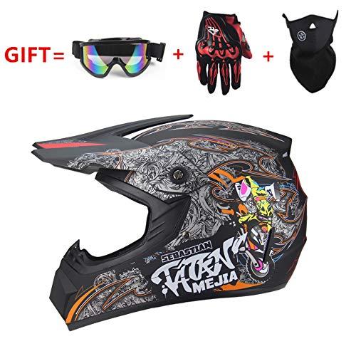 Harley Mini Motorradhelm, DOT-Zertifizierung und Geschenkhandschuhe Brille/Jungen und Mädchen Neue Outdoor-Integralhelm (schwarz),M