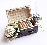 1:12 Dollhouse Miniatur Tragen Vintage Leder Wooden Braun Mini Koffer Gepäck für Puppe Hausmöbel