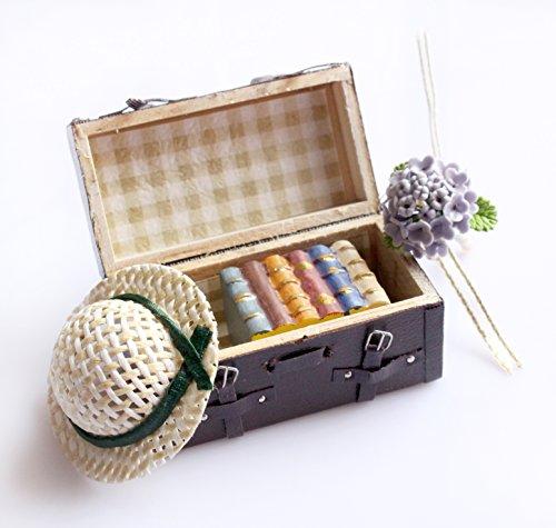 Preisvergleich Produktbild 1:12 Dollhouse Miniatur Tragen Vintage Leder Wooden Braun Mini Koffer Gepäck für Puppe Hausmöbel