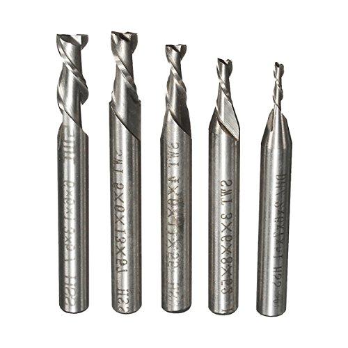 EsportsMJJ 5Pcs 2 Flauta 2/3/4/5/6 mm Cuchilla Fresadora