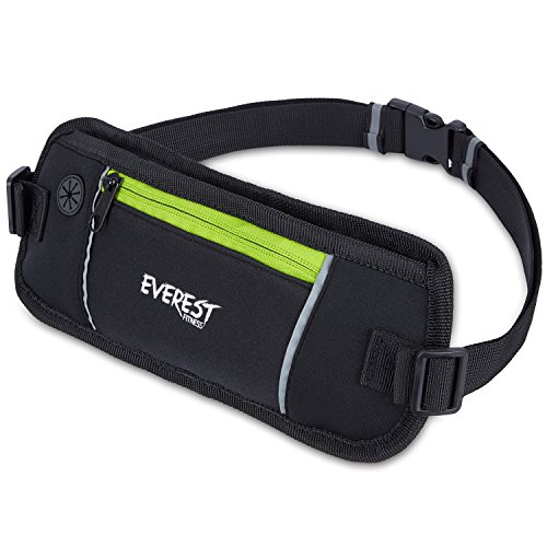 EVEREST FITNESS Sport-Gürteltasche mit Smartphone- und Geldfach in Schwarz, inkl. Reflektor-Streifen für erhöhte Sichtbarkeit in der Dunkelheit | Mehrzweck-Gürtel, Handytasche, Hüfttasche, Bauchtasche