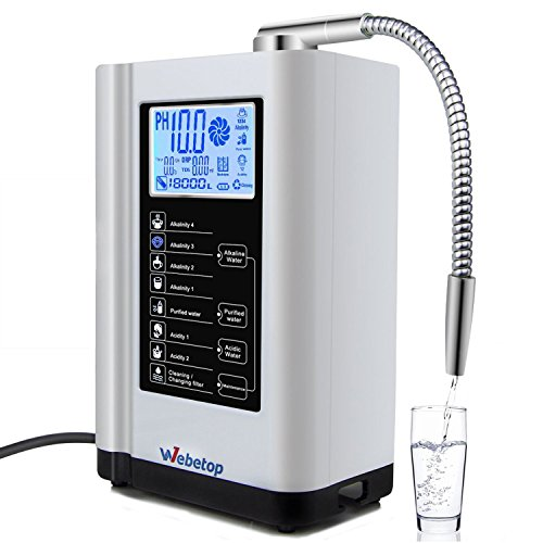 Wasser Ionizer-system (Webetop Wasser Ionisator Water Ionizer and Water Purifier Machine PH 3.5-10.5 Alkaline Acid Water Ionizer Machine/7 Water Settings/Up to -500mV ORP/6000 Liters Per Filter/Auto-Cleaning-Better Water Better Life)