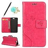 Uposao Kompatibel mit HTC One A9 Brieftasche Hülle Leder Tasche Handyhülle Schutzhülle Wallet Case Flip Hülle Handy Tasche Lederhülle Schmetterling Blumen Klapphülle,Hot Pink
