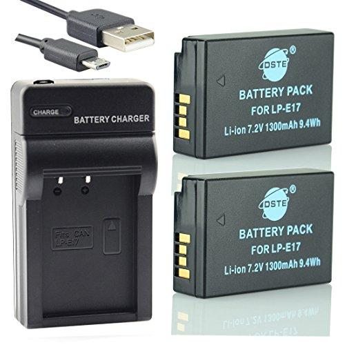 DSTE LP-E17 Li-Ion Batería 2 Paquetes Traje Cargador