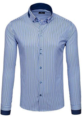 BOLF Langarm Herrenhemd Hemd Men Herren Figurbetont Freizeit Classic 6897 Dunkelblau