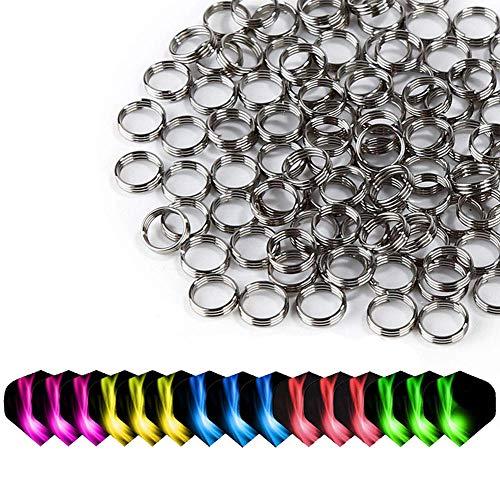ToBeIT Dart Muelle 15unidades de 200unidades y anillos para dardos Dardos Accesorios Acero Inoxidable Shaft o anillos para nailon dardo (3unidades Plus 5de dardos shafts estándar en forma.