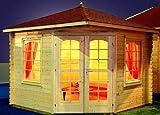 Gartenhaus VICTORIA - B28 Pavillon 300x300cm - 28mm - Inkl. Fußboden+Verglasung