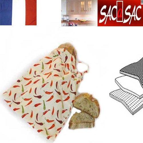 Bolsa para el Pan en Tela - Microrespirante -42x5x35cm - Made in France