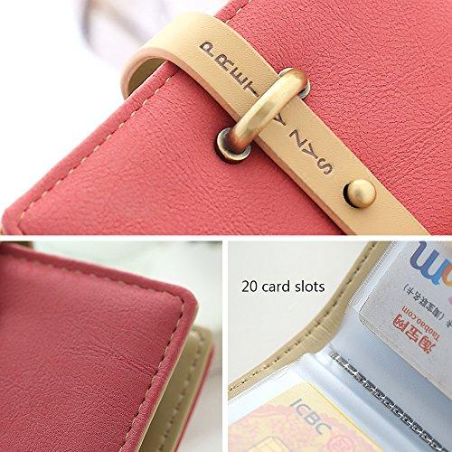 Woolala Anti-Demagnetizzating Cards Holder 20 Card Inserti Piccolo Portafogli Pu Pelle Coulisse Borsa, Grigio Red