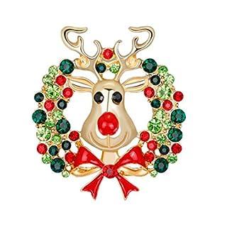 Emorias 1 x Broschen Süße Weihnachten Antler Girlande Strass Kristall Elegant Broschen Pins Geschenk für Damen Mädchen