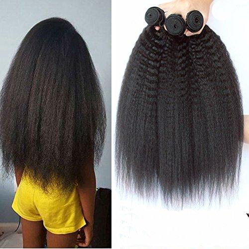 Moresoo Peruvian Human Hair Brazilian Vrigin Hair Kinky Straight Tressen Weave 3 Bundle Unverarbeitete Haar Hair Extensions Haarverlängerung Echthaar Tressen Weavon Natural Color 10/12/14 Zoll