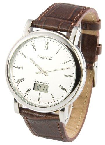 MARQUIS Herren Funkuhr, Edelstahlgehäuse, Braunes Lederarmband, Armbanduhr, Junghans-Uhrwerk 964.6066