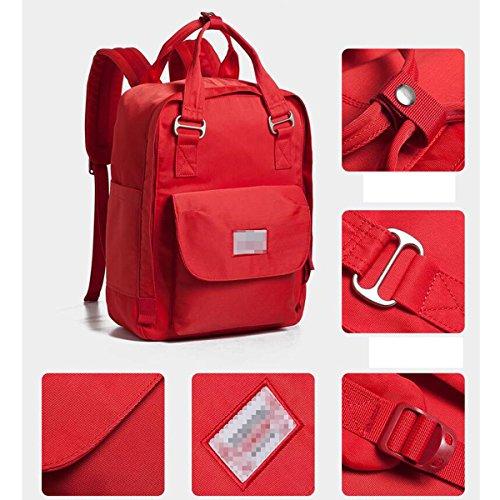 Womens Einfarbig Rucksack Wasserdichte Nylon Laptop Schultertasche Red