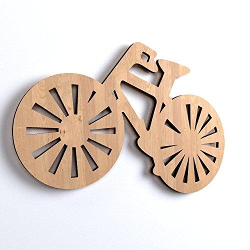 Y27 Lot de 3 décoration en bois et forme de vélo Couleur unie