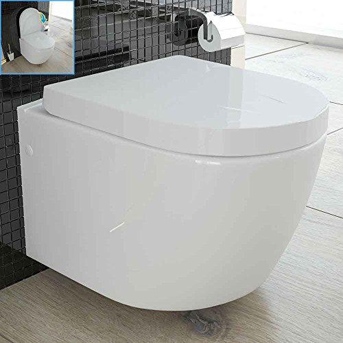 Preisvergleich Produktbild Weiss Keramik Toilette Wand Hänge WC / WC-Sitz mit Soft-Close Funktion