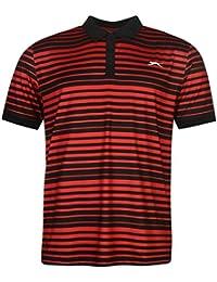 Slazenger Herren Feine Streifen Golf Polo Shirt Kurzarm Sport Polohemd Logo