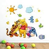 ZuoLan 1pcs Winnie l'ourson sticker mural amovible réutilisable pour Enfants/Garçons/Filles/Décoration Maison Chambre (# G)
