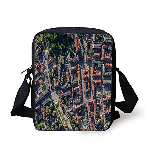 WITHY City,Aerial View of Olesnica in Poland Industrial Landscape Buildings Roads Trees,Salmon Grey Green Print Kids Crossbody Messenger Bag Purse -