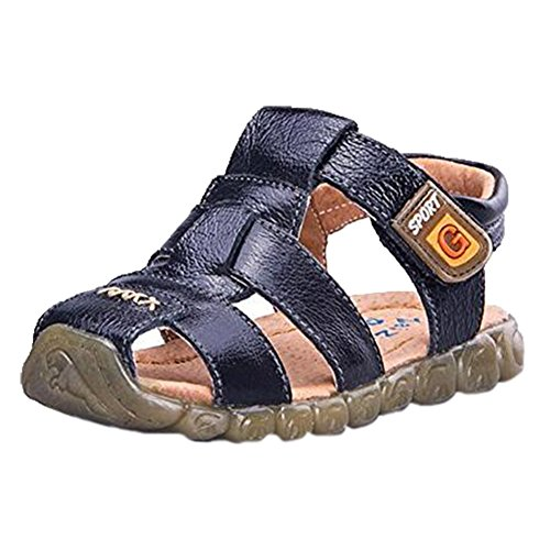Ohmais Enfants Chaussure bebe garcon premier pas Chaussure premier pas bébé sandale en cuir souple Noir