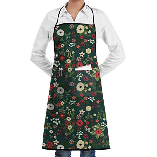 Drempad Schürzen Vintage Christmas Floral Bib Apron Chef Apron - with Pockets for Male and Female,Waterproof, Resistant to Droplets, Durable, Machine Washable, Comfortable, Easy Care Apron (Easy Star Wars Kostüm)