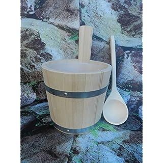 Sauna-Set 2 teilig Aufgußkübel aus PEFC zertifizierten Fichtenholz,Kunststoffeinsatz und Aufgusskelle mit Lederschlaufe