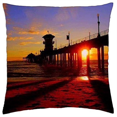 Sunset at Huntington Beach Pier - Throw Pillow Cover Case (18